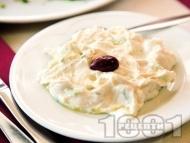 Рецепта Гръцка салата Дзадзики (Цацики) от цедено кисело мляко, краставици, чесън и копър